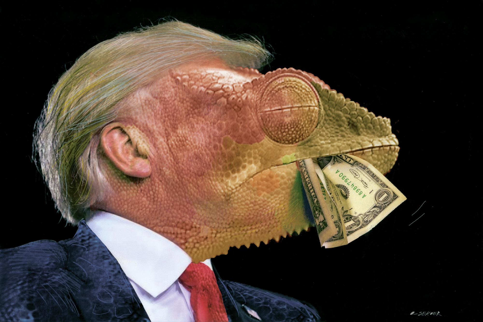 Desenho De Donald Trump Com Feicoes De Camaleao E O Vencedor Do