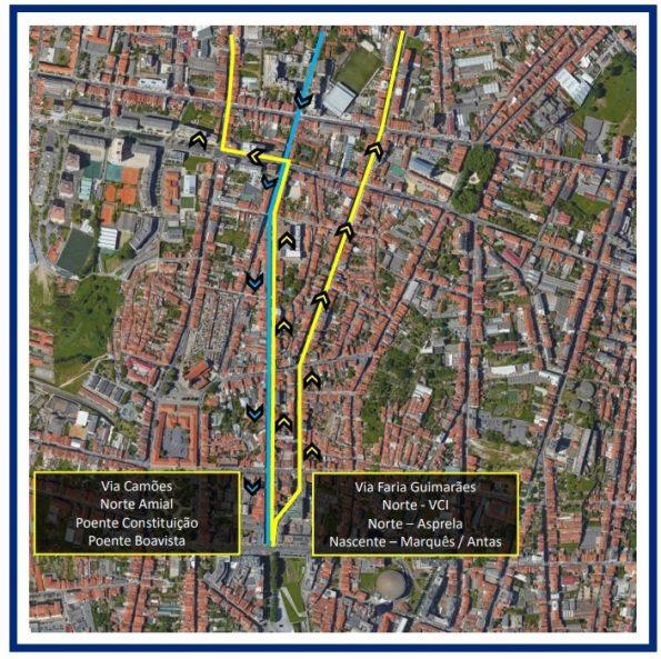 No mapa é possível verificar a forma como a câmara pretende descongestionar o trânsito da Rua Faria Guimarães.