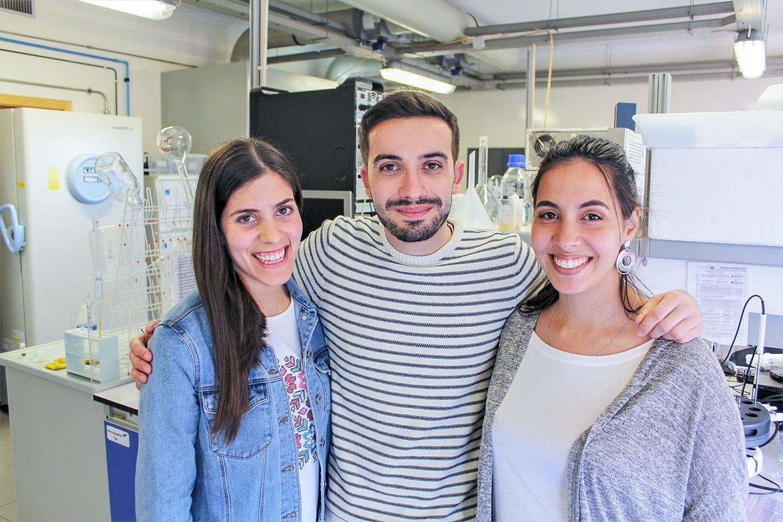 Os investigadores Marguerita Rosa, Emanuel Capela e Mariam Kholany