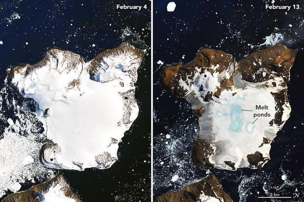 As imagens satélite da NASA revelam o degelo ocorrido este mês, depois das temperaturas recorde registadas.