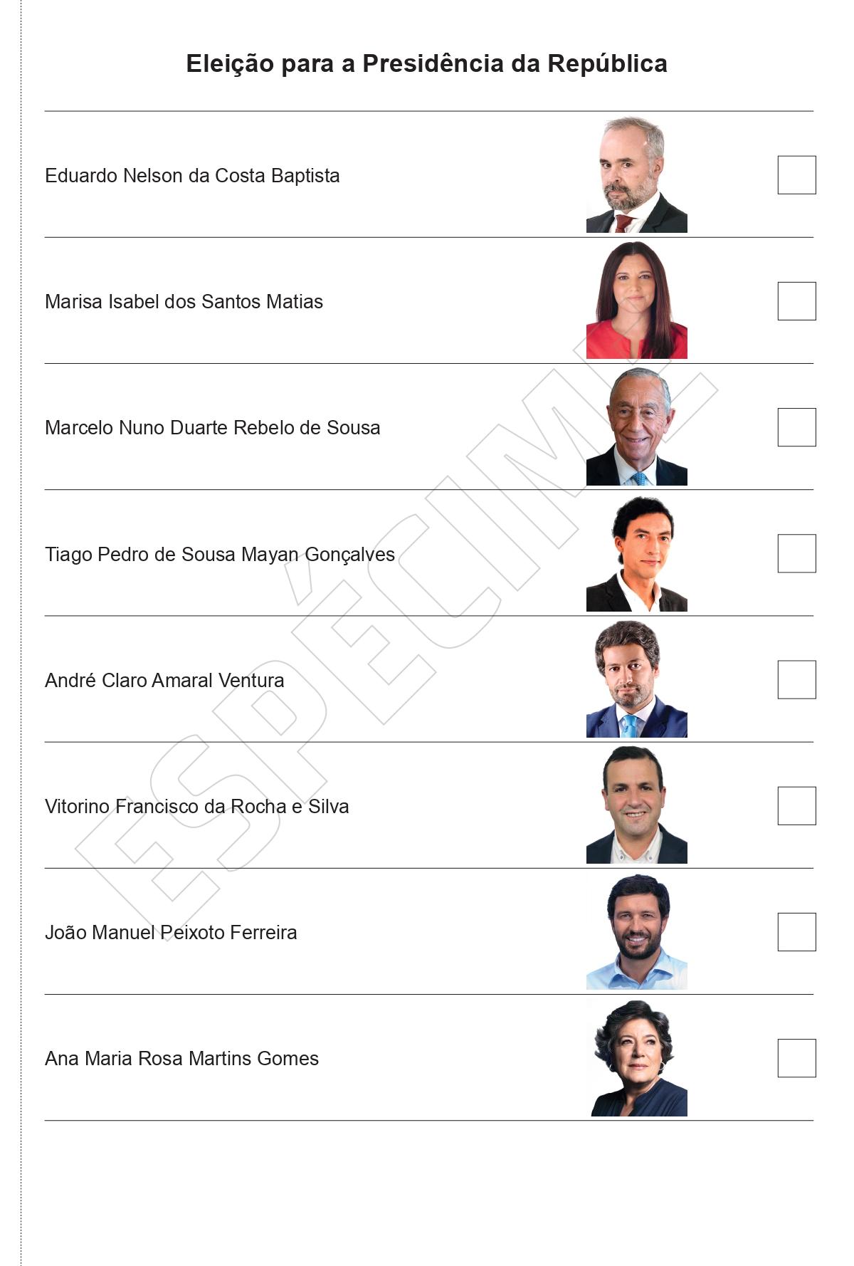 O boletim de voto das eleições presidenciais 2021 são encabeçadas por Eduardo Baptista, apesar da candidatura não ter sido validada.