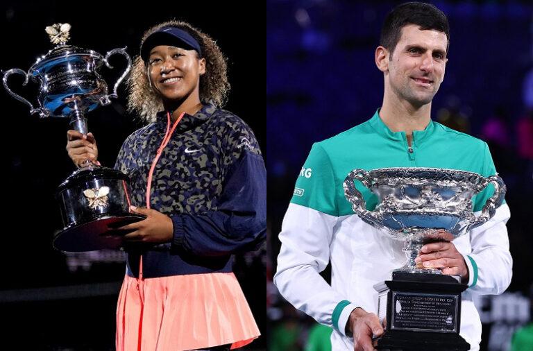 Osaka venceu o seu segundo Open da Austrália, enquanto Djokovic triunfou pela nona vez em Melbourne.