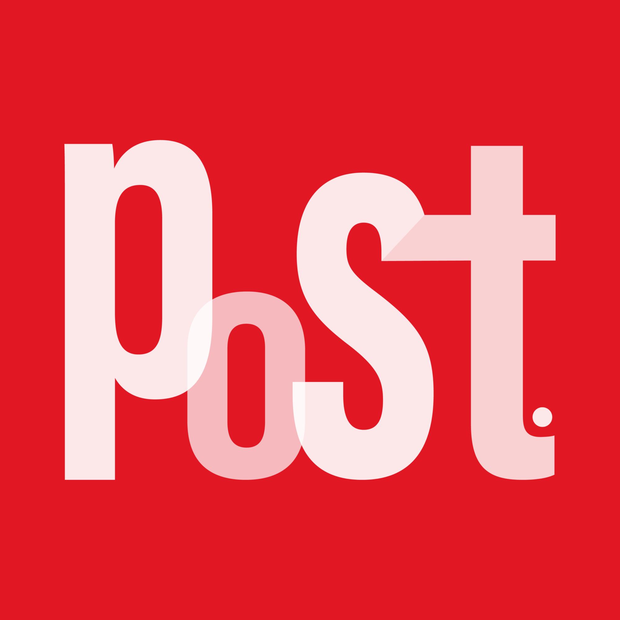 Logo da POST. Fundo vermelho com letras brancas