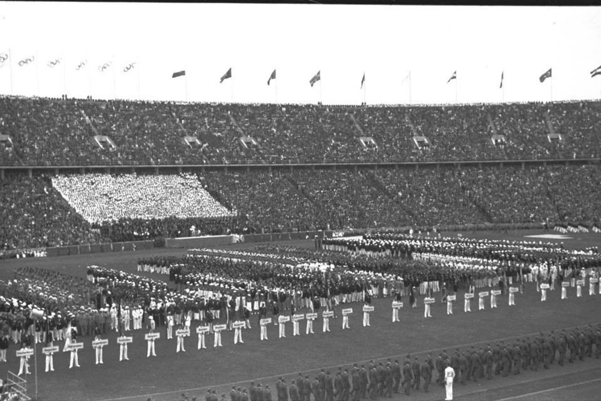 Cerimónia de Abertura dos Jogos Olímpicos de Berlim 1936.