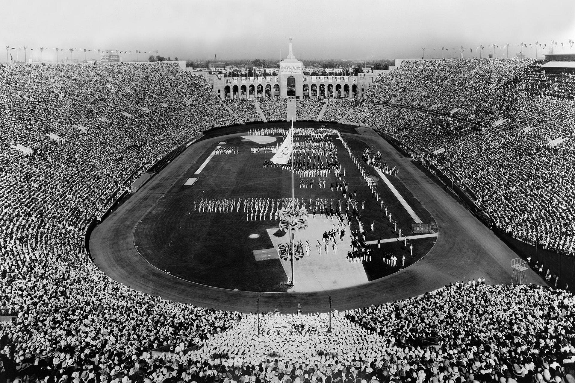 Cerimónia de Abertura dos Jogos Olímpicos de Los Angeles 1932.