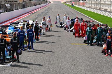 Pilotos da temporada 2021 de F1 no primeiro dia de testes, em Sakhir.